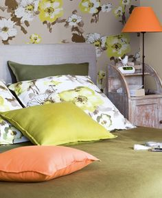 Confections en tissu  UNO orange, LIN vert mousse, FLORENTIS vert