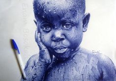 blue-pen-portraits- Artist Enam Bosokah from Ghana, uses a blue ballpoint pen to create impressive portraits and drawings