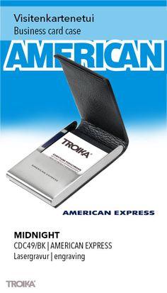 TROIKA MIDNIGHT - AMERICAN EXPRESS engraving. Business card case, magnetic fastening, leather/imitation leather/metal, black *** Visitenkartenetui, magnetischer Verschluss, Leder/Kunstleder/Metall, schwarz