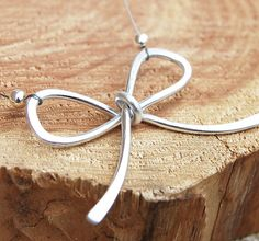 Aluminum Necklace Ribbon Bow Silver Wire by Karismabykarajewelry, $22.00