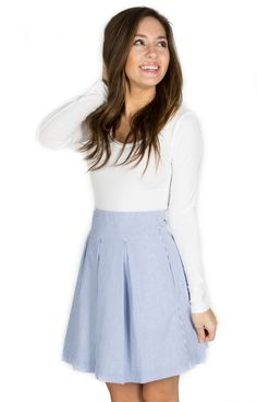 Navy Pleated Skirt - http://www.laurenjames.com/collections/skirts/products/pleated-seersucker-skirt