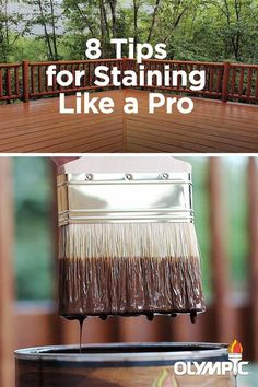Staining your deck is a big DIY project. Learn the best ways to apply stain so that the surface of your deck, railings and trim have a smooth, uniform finish. Cool Deck, Diy Deck, Best Deck Stain, Floors And More, Fence Stain, Front Deck, Front Porch, Deck Railings, Deck Plans