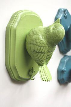 Taxidermy Birdie Jewelry Holder Candy Apple Green