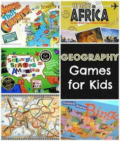 Geography Games for Kids- These geography board games are outstanding to help kids learn about different countries, practice their map skills, and have fun with their family and friends.