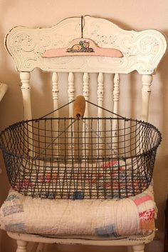 Charming vintage chair, quilt, and child's clothing hanger, with a wire basket Old Wooden Chairs, Old Chairs, Vintage Chairs, Quilt Display, Old Shutters, Love Chair, Down On The Farm, Accent Chairs For Living Room, Store Displays