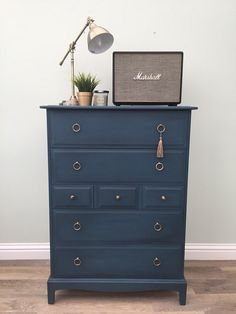 Stag Tallboy chest of drawers/vintage chest of drawers/painted dresser/blue chest of drawers/painted chest of drawers Stag Furniture, Painting Old Furniture, Rustic Bedroom Furniture, Hand Painted Furniture, Furniture Layout, Furniture Arrangement, Upcycled Furniture, Vintage Furniture, Furniture Ideas