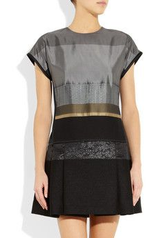 Victoria Beckham,Multicolored satin, metallic satin-crepe and black brocade  Side slit pockets, drop waist, pleated skirt, fully lined  Concealed hook and zip fastening at back  100% polyester; lining: 100% silk Brocade Dresses, Victoria Dress, Discount Designer Clothes, Playing Dress Up, Clothes For Sale, Victoria Beckham, Pleated Skirt, Dress Outfits, High Fashion
