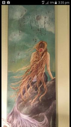Hand painted mermaid artwork on salvaged wood. I love this painting. Magical Creatures, Fantasy Creatures, Sea Creatures, Mermaid Fairy, Mermaid Tale, Mermaid Artwork, Mermaid Paintings, Mermaid Photos, Laurel