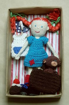 Pippi Longstocking with monkey Mr. Nilson - crocheted dolls - friendly imaginative game - OOAK doll