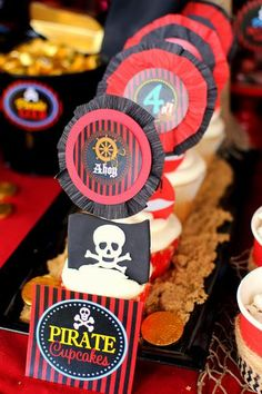 Krown Kreations & Celebrations 's Birthday / Pirate - Photo Gallery at Catch My Party Pirate Birthday, Pirate Party, Mickey Party, Birthday Board, Princess Birthday, Princess Party, Girls Pirate Parties, Pirate Food, Pirate Cupcake