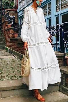 if there's one to try on for size during warmer weather, it's the free-spirited boho look. vacation dresses beach,vacation dresses tropical,vacation dresses caribbean,vacation dresses casual,vacation dresses mexico,summer vacation style,travel dresses summer,summer vacation clothes  #vacationdressesmexicooutfitideas #vacationdressescaribbeanresortwear #beachdressesvacationmaxiskirts #beachdressessummerbohemian #vacationdressescasual #caribbean #beach #summer #boho #maxi #hawaii #streetstyle Fall Dresses, Casual Dresses, Summer Dresses, Vacation Dresses, Vacation Wear, Summer Maxi, Vacation Style, Dresses Dresses, Mexico Vacation