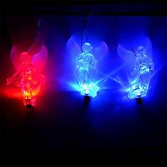 Clear crystal angel with flashing LED colour changing lights. Ideal for use as Christmas tree hanging decorations. One pack contains three angel shaped tree decorations. Xmas Tree Decorations, Hanging Decorations, Festival Decorations, Christmas Angels, Christmas Ornaments, Color Changing Lights, Button Cell, Clear Crystal, Shapes