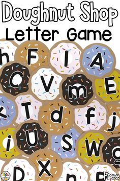 Are you looking for a fun way for your kids to practice identifying and naming the letters of the alphabet? This Doughnut Shop Letter Recognition Game is a favorite to play in preschool. Your pre-readers will get up and move (so important in any early childhood classroom) as they learn during this group game. There are so many ways to differentiate this activity for all learners too! Click on the picture to get the free printables! #letterrecognition #lettergame #alphabetgame… Letter Recognition Games, Letter Games, Teaching The Alphabet, Letter Activities, Alphabet Activities, Toddler Fine Motor Activities, Preschool Learning Activities, Abc Learning, Teaching Kindergarten