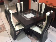 Wooden Dining Table Modern, Dinning Table Design, 4 Seater Dining Table, Simple Dining Table, Dining Room Table Decor, Glass Top Dining Table, Dining Table Chairs, Wood Tables, Dinner Tables Furniture