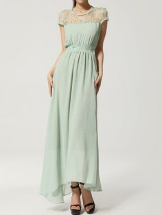Green Chiffon Maxi Dress With Lace Shoulder