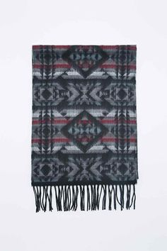 Geometric Print Scarf in Black and Grey