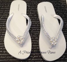 White Satin Wedding Pearl & Bling Flip Flops Womens  Bridal Bridesmaid Prom Beach Rhinestone Crystal Embellishment. $29.95, via Etsy.