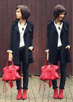 Love the red boots and bag