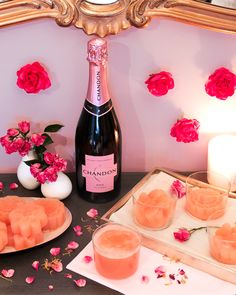 Roses, rosé and glam grapefruit juice ice cubes. Mirosas? Yes, please. #GalentinesDay