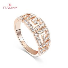 Sale 18% (3.99$) - Italina Women Gold Silver Plated Rhinestone G Paved Ring Jewelry