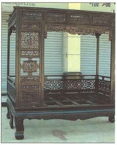 Chinese Antique Queen-Size, Open, Hand-Carved Wedding Bed in Antiques, Asian Antiques, China | eBay