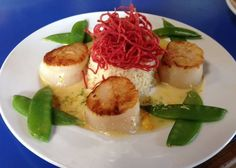 Day Boat Scallops from Fresh Catch Bistro.  Jumbo sea scallops pan seared placed atop a delicate citrus beurre blanc, served with saffron rice and steamed snow peas. #food #seafood #freshcatchbistro