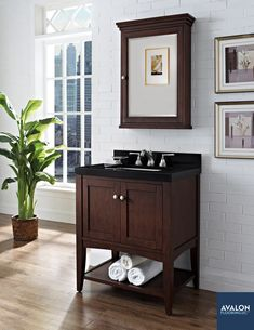 "Shaker Americana 30"" Open Shelf Vanity shown in Habana Cherry 