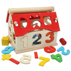 [$2.57] Multi-Color Number House Wooden Educational Toy