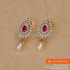 When hand-crafted diamonds, pretty rubies and sparkling pearls come together, you end up staring. Get this beautiful pair of earrings at KAPISH JEWELS Diamond Studs, Diamond Jewelry, Gold Jewelry, Diamond Earrings, Jewelery, Fine Jewelry, Stone Earrings, Diamond Pendant, Jewelry Shop