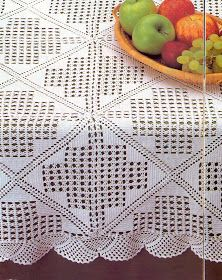 Vintage Crochet Tablecloth or Throw With Medieval Cross Pattern, Milk White Cotton Yarn Filet Crochet, Crochet Doily Patterns, Crochet Diagram, Crochet Squares, Thread Crochet, Crochet Doilies, Crochet Home, Diy Crochet, Crochet Crafts
