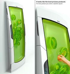 Electrolux Design Lab 2010. El refrigerador Bio Robot enfría gel biopolímero a través de luminiscencia. Un gel no pegajoso rodea el alimento cuando empujó en el gel de biopolímero, creando vainas separadas. Las características del diseño sin puertas o cajones, y los alimentos que son individualmente enfriado a la temperatura óptima. De locura!