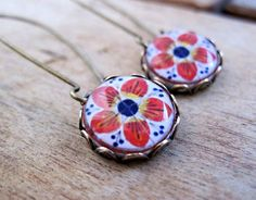 Mexican Talavera tile folk art cabochon, handmade, Antique oxidized brass kidney wires, long dangle earrings