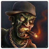 Hip-Hop Zombie Gangsta Digital Painting - Flyland Designs, Freelance Illustration and Graphic Design by Brian Allen - Arte Zombie, Zombie Art, Zombie Cartoon, Arte Horror, Horror Art, Aztecas Art, Vintage Metal Signs, Chicano Art, Freelance Illustrator