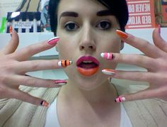 her nails are awesome. Colour Blocking Fashion, Color Blocking, New Fashion Trends, New Trends, Scottish Fashion, Body Painting, Lips, Badass, Beauty
