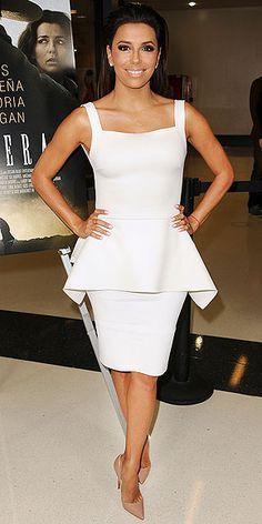 Look of the Day › August 2014 Eva Longoria was white-hot at the Frontera premiere in a chic peplum Lenny Niemeyer top and Barbara Bui pencil skirt with nude Louboutin pumps. Gabrielle Solis, Celebrity Red Carpet, Celebrity Style, Eva Longoria Style, Peplum Dress, Dress Up, White Peplum, White Dress, Fashion Fail