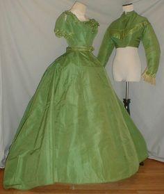 Majestic 1860's Green Silk Dress w/Two Bodices Museum De-accessioned