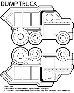 Dump Truck Box coloring page... this could also be used as decorations, since its 2 sided. Maybe glue it back to back on the balloon ribbons or make a banner with it at each end.