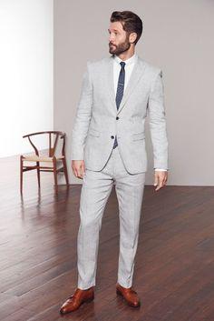 Mens Next Light Grey Tailored Fit Nova Fides Signature Linen Suit: Trousers Grey Light Grey Suits Wedding, Light Grey Suit Men, Mens Gray Suit, Grey Suit Groom, Black Suits, Linen Suits For Men, Mens Tailored Suits, Men's Suits, Groomsmen Suits
