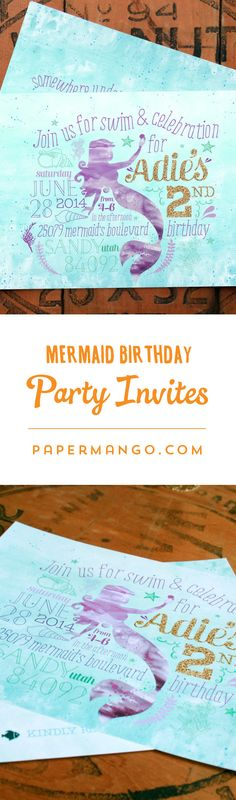 Make a splash with your little mermaid's birthday party invitations with watercolor textures and gold glitter typography. $1.49+ from Paper Mango #mermaid #party