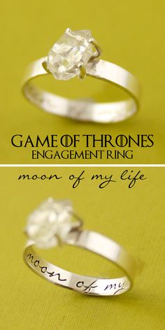 """Game of Thrones Engagement Ring """"moon of my life"""" with rough cut herkimer diamond by Spiffing Jewelry. Daenerys Targaryen inspired engagement ring. A song of ice and fire."""
