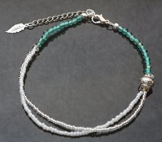 Turquoise Glass Beaded Anklet. 16.00, via Etsy. Great idea for a bracelet for my niece :)