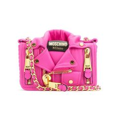 Moschino Biker Jacket Womens Small Leather Shoulder Bag Rose