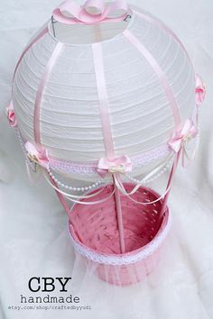 Hot Air Balloon Baby Shower Centerpiece Ivory and Pink Lace