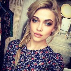 Casual side fishtail braid and bronze makeup