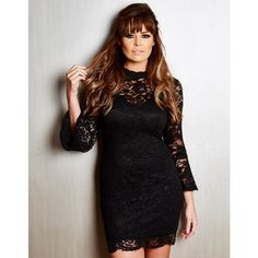 Jessica Wright Juliet Lace Dress ($99) ❤ liked on Polyvore featuring dresses, see through dress, black dress, black lace dress, sheer dress and long sleeve black cocktail dress