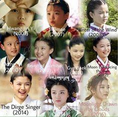 Kim Yoo Jung over the years Kang Sora, Kim You Jung, Dong Yi, Gumiho, Culture Clothing, Beautiful S, Korean Hanbok, Lil Black, Medical Drama