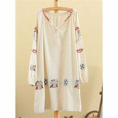 Bahar Nakış Motifli Beyaz Salaş Elbise | Daha fazlası için resme tıklayınız..
