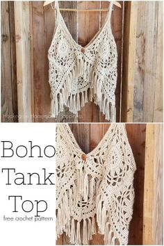 Boho Tank Top Crochet Pattern - I love this fun, funky, fring-y Crochet Boho Tank Top Pattern! It's super cute layered with long necklaces over a sundress. Source by manulingua boho Crochet Summer Tops, Crochet Halter Tops, Crochet Blouse, Crochet Vests, Boho Tops, Crochet Hippie, Black Crochet Dress, Crochet Cape, Crochet Woman