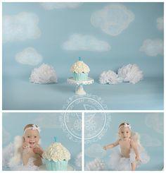 Heavenly Cake Smash   Virginia Beach Birthday Baby Cake Smash   Kimberlin Gray PhotographyPremier Newborn & Family Photographer in Virginia Beach