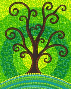unfurling tree of lushiousness by Elspeth McLean.      Artist does beautiful pointalism art.